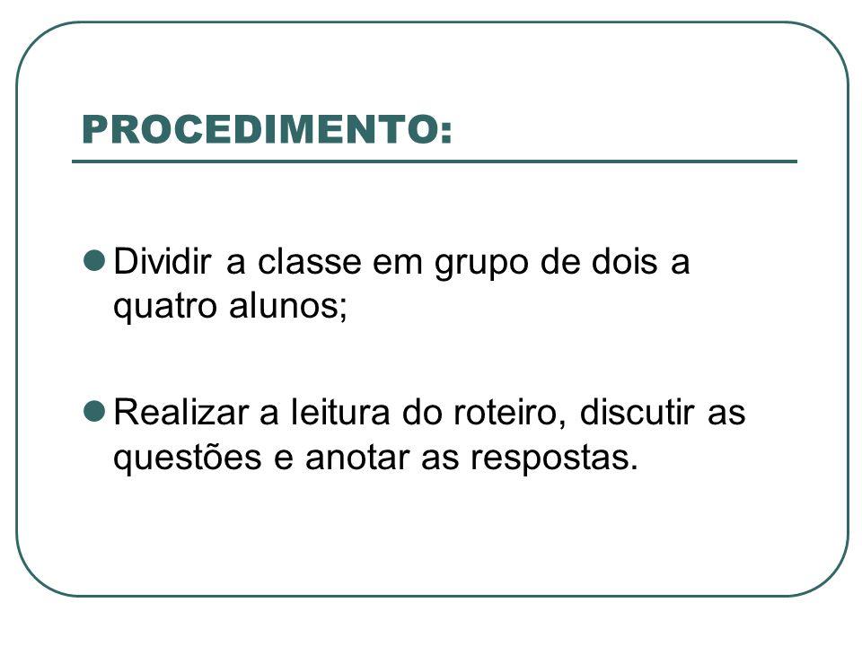 PROCEDIMENTO: Dividir a classe em grupo de dois a quatro alunos;