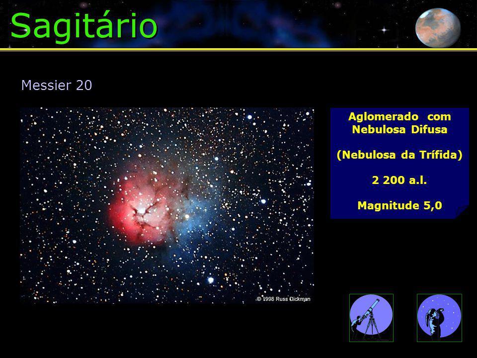 Sagitário Messier 20 Aglomerado com Nebulosa Difusa