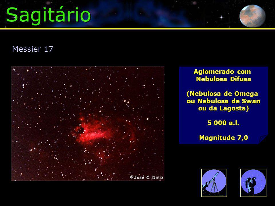 Sagitário Messier 17 Aglomerado com Nebulosa Difusa