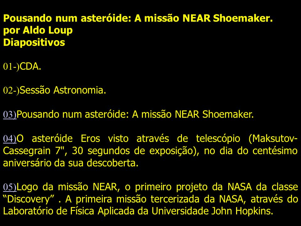 Pousando num asteróide: A missão NEAR Shoemaker.