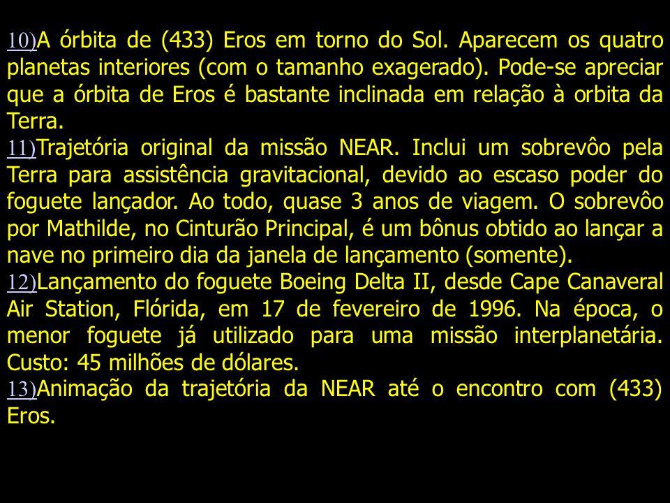 10)A órbita de (433) Eros em torno do Sol