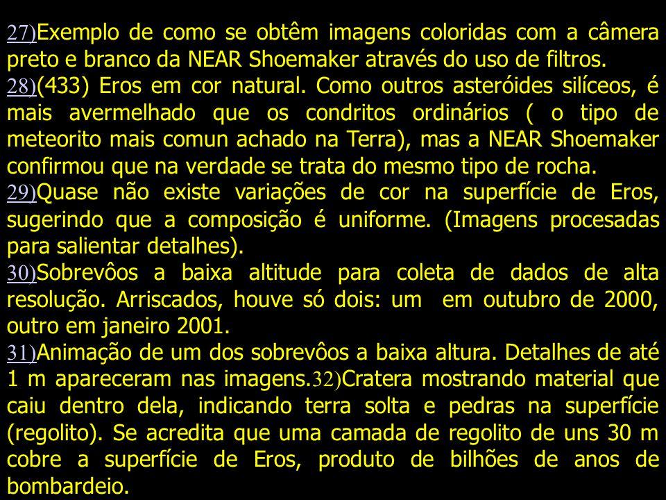 27)Exemplo de como se obtêm imagens coloridas com a câmera preto e branco da NEAR Shoemaker através do uso de filtros.