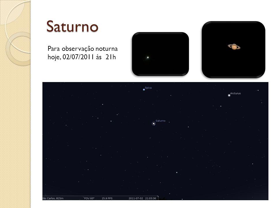 Saturno Para observação noturna hoje, 02/07/2011 às 21h