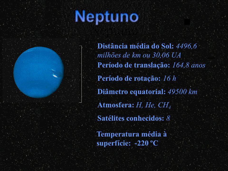 Neptuno Distância média do Sol: 4496,6 milhões de km ou 30,06 UA