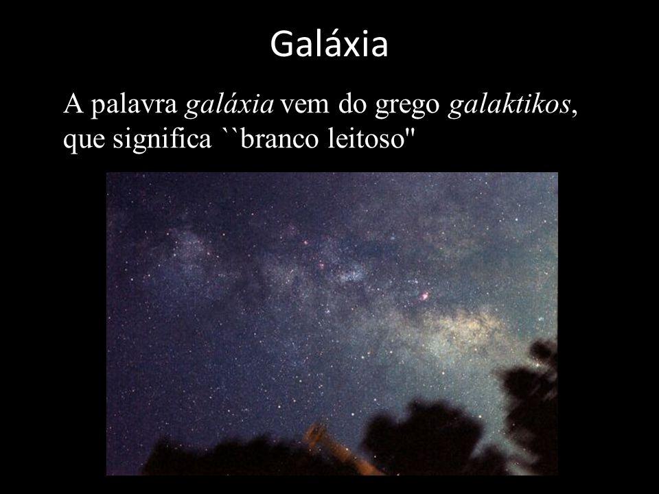 Galáxia A palavra galáxia vem do grego galaktikos, que significa ``branco leitoso