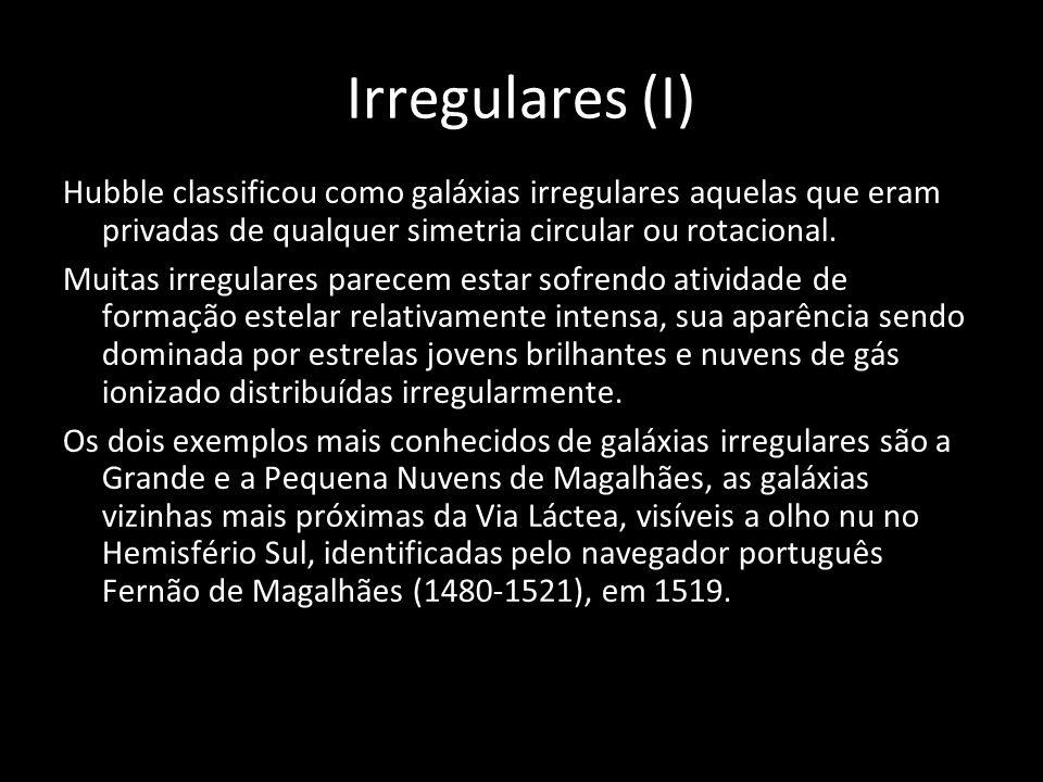 Irregulares (I) Hubble classificou como galáxias irregulares aquelas que eram privadas de qualquer simetria circular ou rotacional.