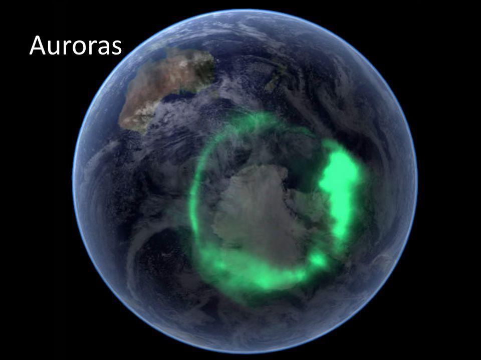 Auroras Assim como ocorre na Terra as auroras também podem surgir nos polos do planeta gasoso. Saturn s Auroras Date: 28 Jan 2005.