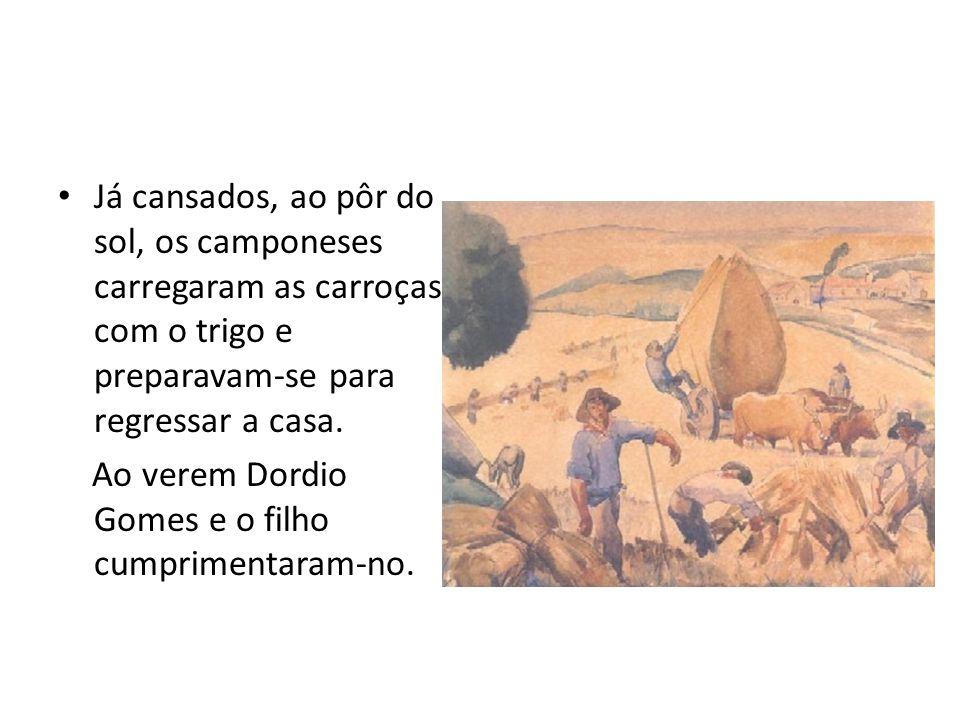 Já cansados, ao pôr do sol, os camponeses carregaram as carroças com o trigo e preparavam-se para regressar a casa.