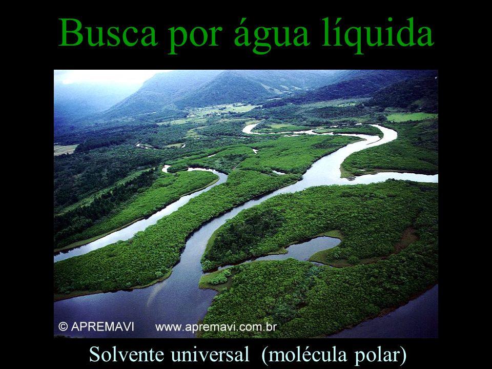Busca por água líquida Solvente universal (molécula polar)