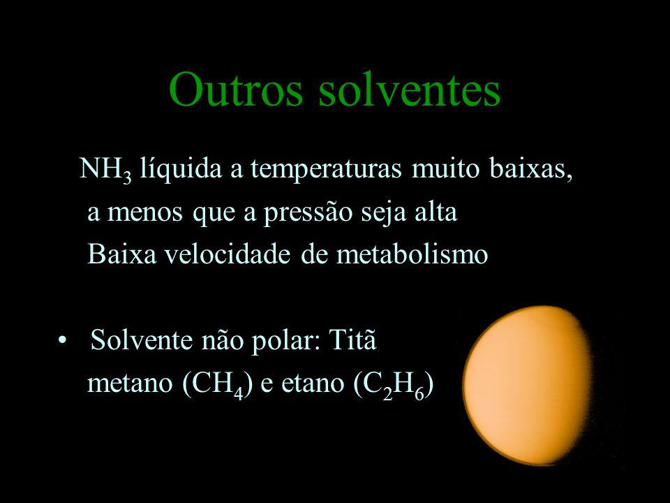 Outros solventes NH3 líquida a temperaturas muito baixas,