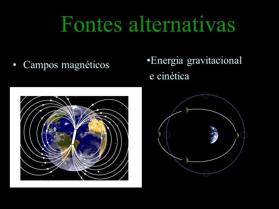 Fontes alternativas Energia gravitacional e cinética Campos magnéticos