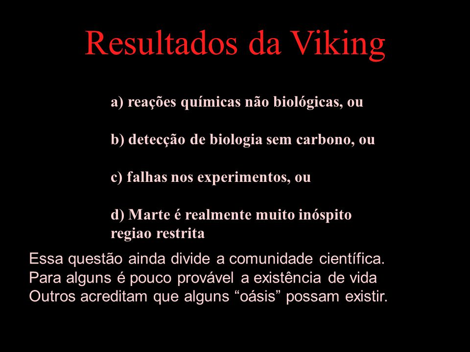 Resultados da Viking a) reações químicas não biológicas, ou