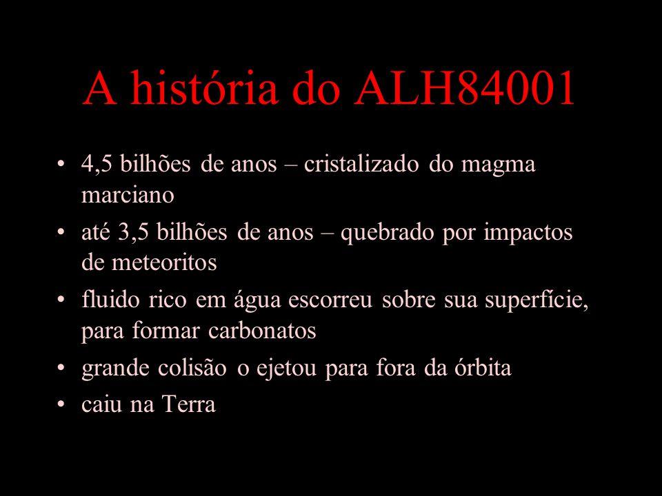 A história do ALH84001 4,5 bilhões de anos – cristalizado do magma marciano. até 3,5 bilhões de anos – quebrado por impactos de meteoritos.