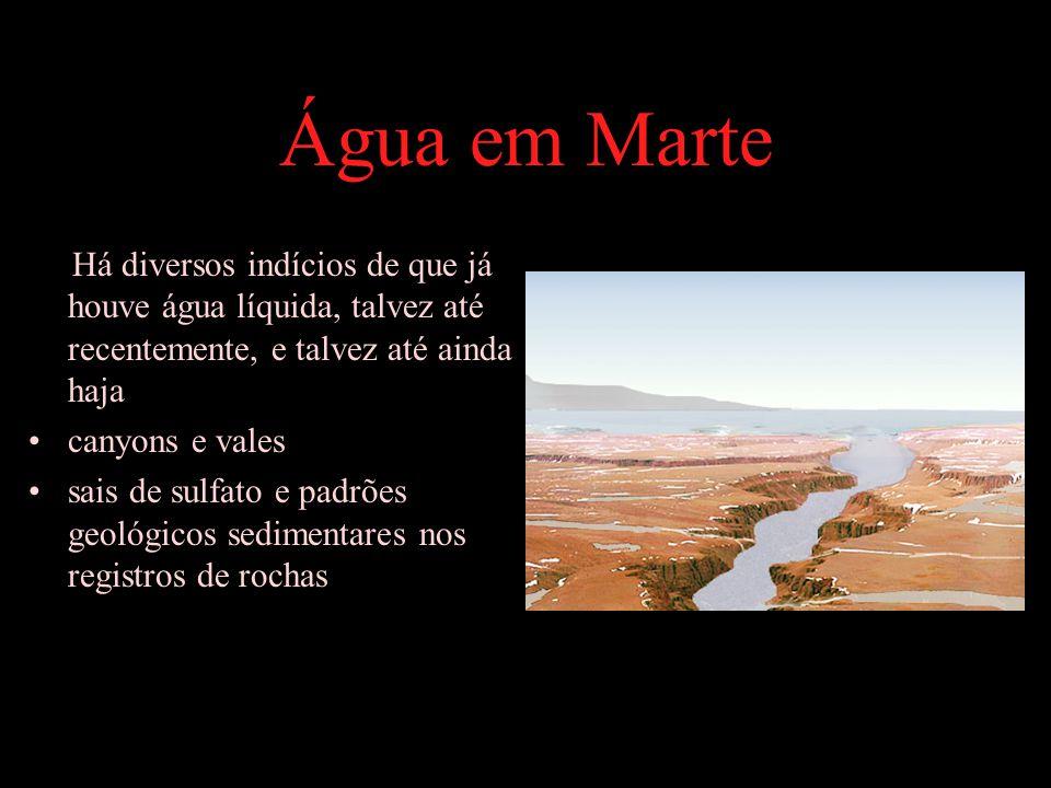 Água em Marte Há diversos indícios de que já houve água líquida, talvez até recentemente, e talvez até ainda haja.