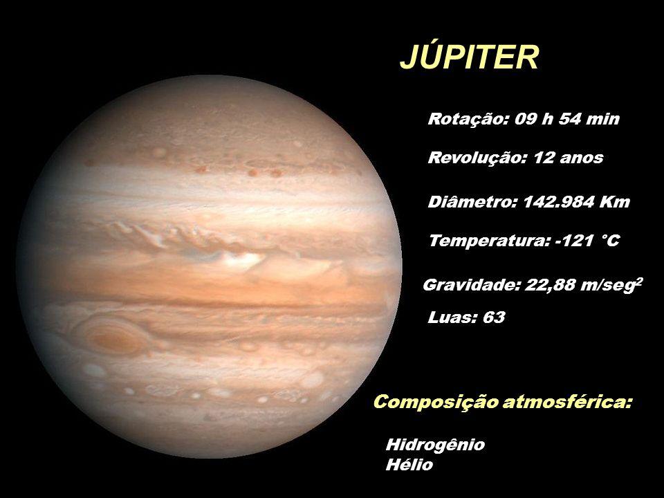 JÚPITER Composição atmosférica: Rotação: 09 h 54 min