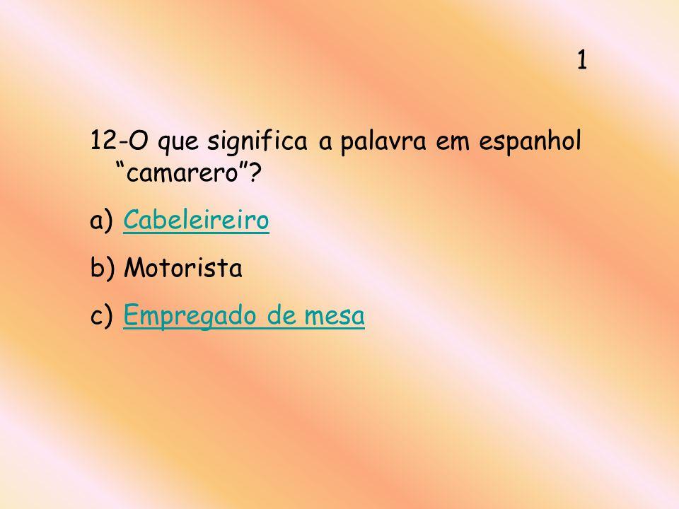 1 12-O que significa a palavra em espanhol camarero Cabeleireiro Motorista Empregado de mesa