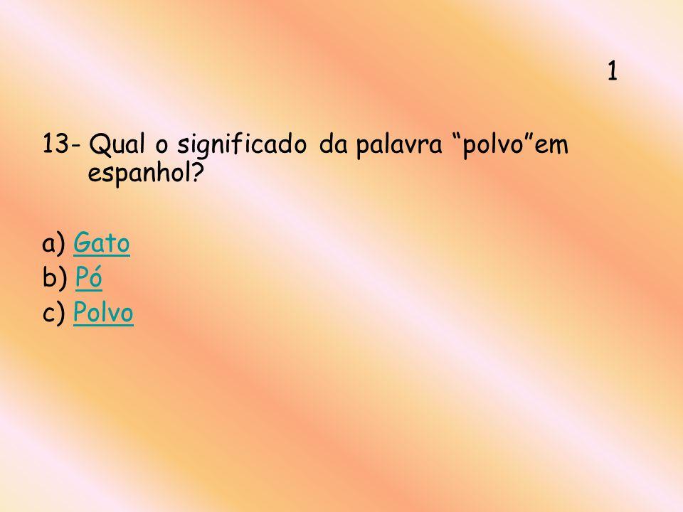 1 13- Qual o significado da palavra polvo em espanhol a) Gato b) Pó c) Polvo