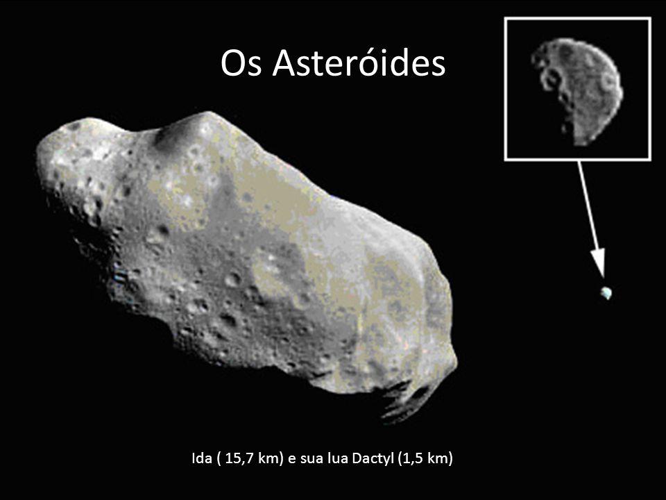 Ida ( 15,7 km) e sua lua Dactyl (1,5 km)