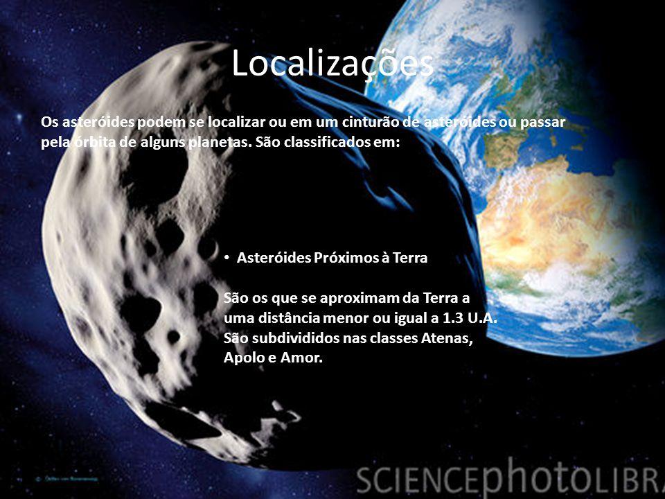 Localizações Os asteróides podem se localizar ou em um cinturão de asteróides ou passar pela órbita de alguns planetas. São classificados em: