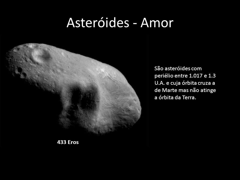 Asteróides - Amor São asteróides com periélio entre 1.017 e 1.3 U.A. e cuja órbita cruza a de Marte mas não atinge a órbita da Terra.