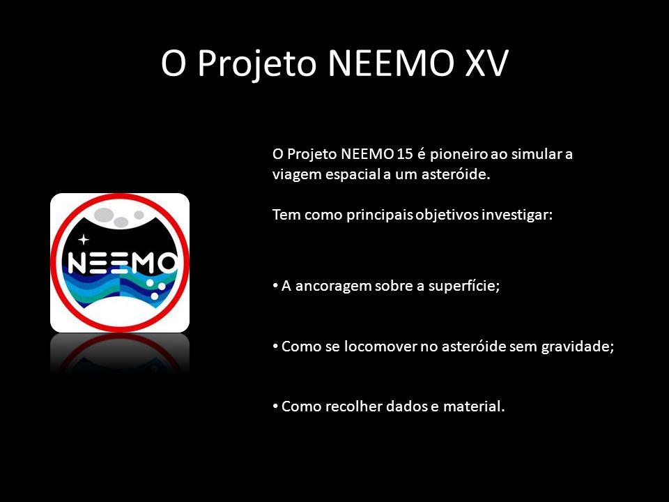 O Projeto NEEMO XV O Projeto NEEMO 15 é pioneiro ao simular a viagem espacial a um asteróide. Tem como principais objetivos investigar: