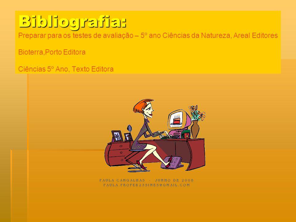 Bibliografia: Preparar para os testes de avaliação – 5º ano Ciências da Natureza, Areal Editores Bioterra,Porto Editora Ciências 5º Ano, Texto Editora