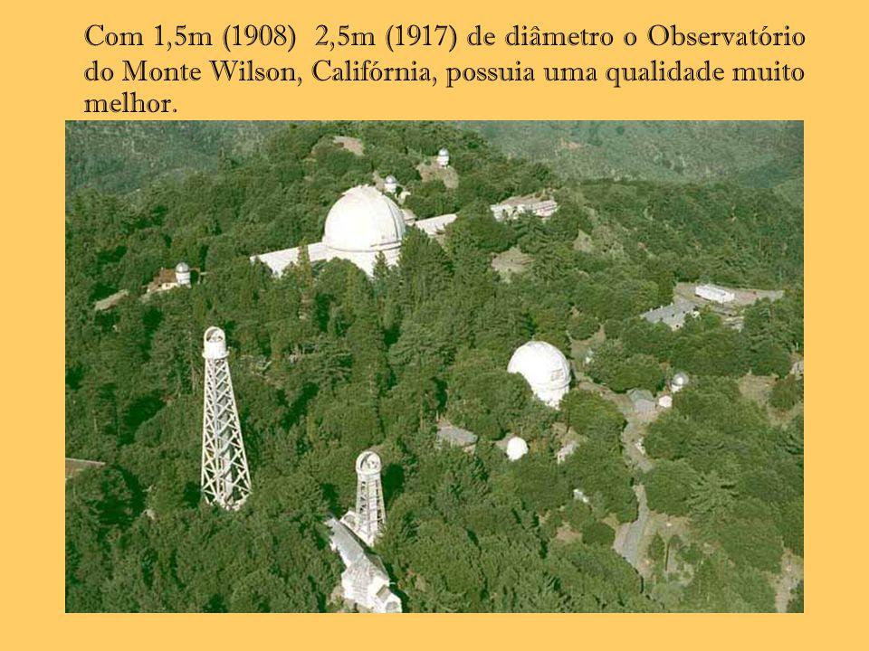 Com 1,5m (1908) 2,5m (1917) de diâmetro o Observatório do Monte Wilson, Califórnia, possuia uma qualidade muito melhor.