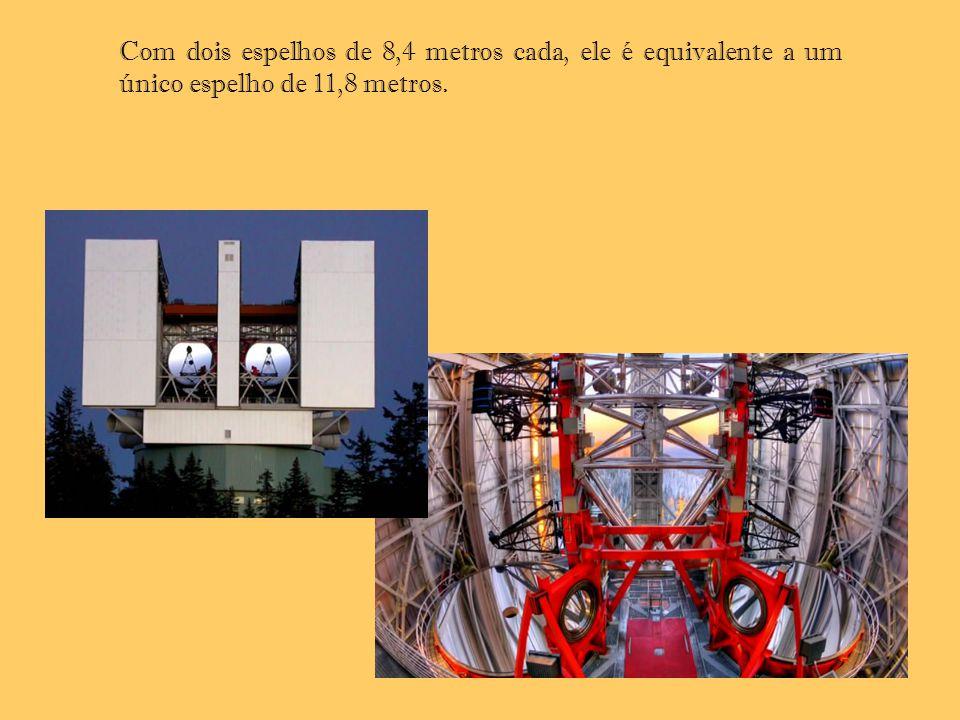 Com dois espelhos de 8,4 metros cada, ele é equivalente a um único espelho de 11,8 metros.
