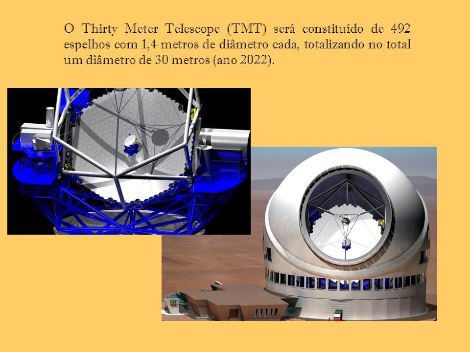 O Thirty Meter Telescope (TMT) será constituído de 492 espelhos com 1,4 metros de diâmetro cada, totalizando no total um diâmetro de 30 metros (ano 2022).