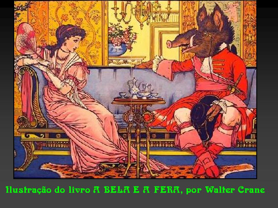 Ilustração do livro A BELA E A FERA, por Walter Crane