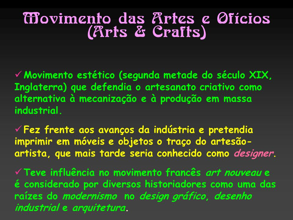Movimento das Artes e Ofícios (Arts & Crafts)