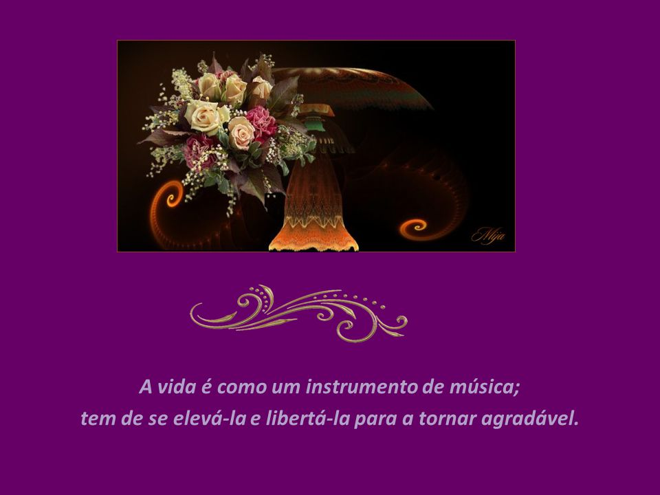 A vida é como um instrumento de música; tem de se elevá-la e libertá-la para a tornar agradável.
