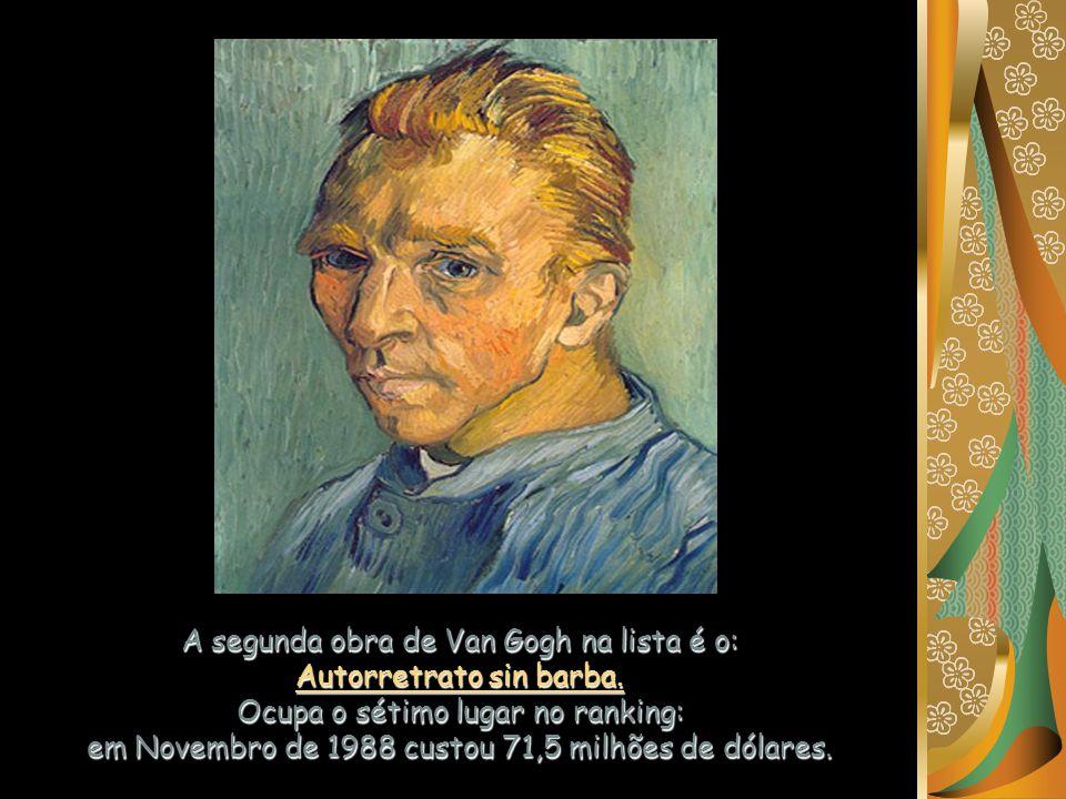 A segunda obra de Van Gogh na lista é o: Autorretrato sin barba.
