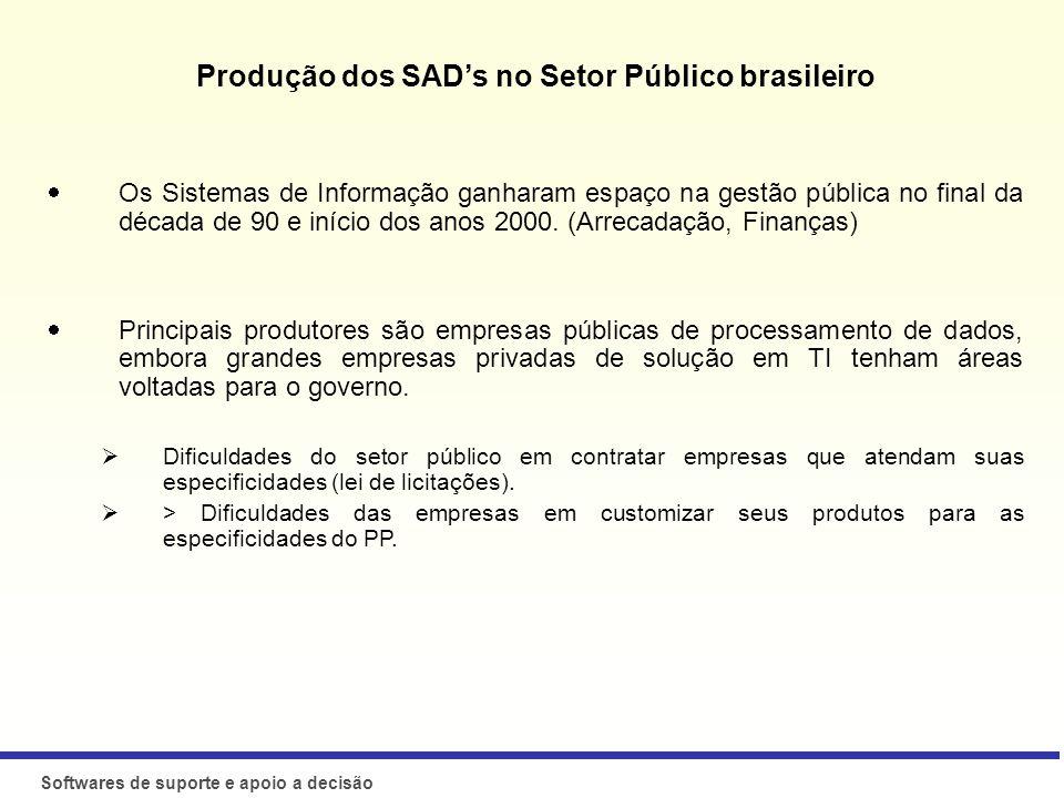 Produção dos SAD's no Setor Público brasileiro