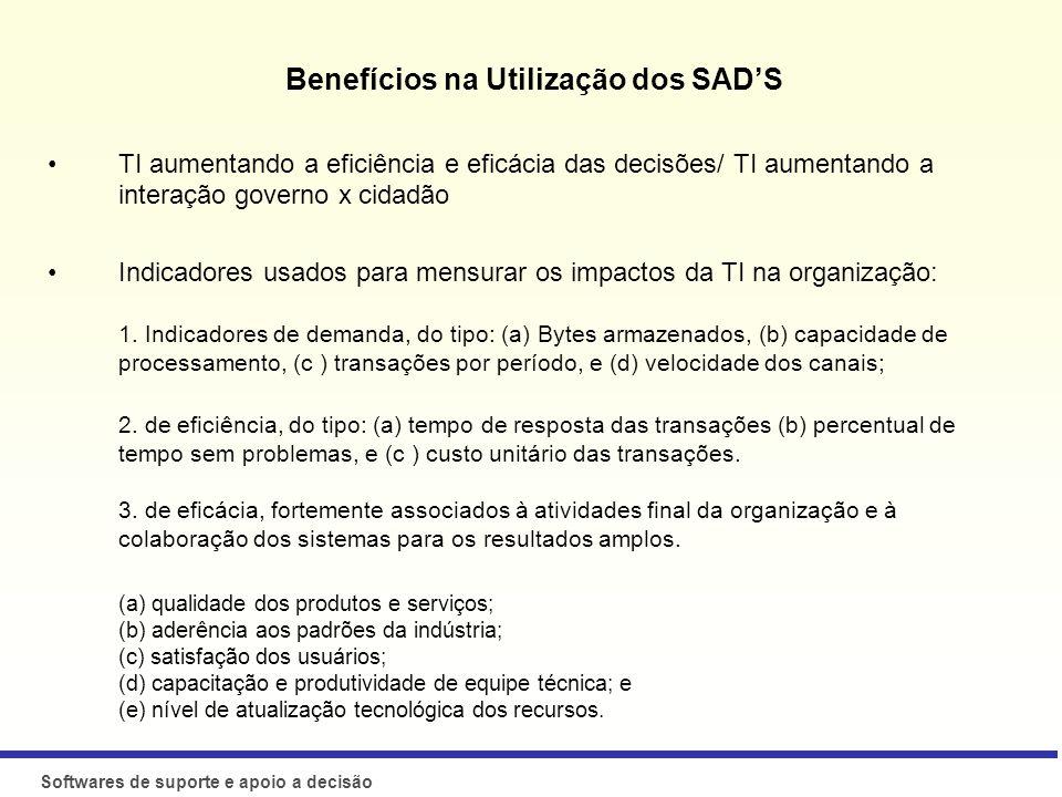 Benefícios na Utilização dos SAD'S