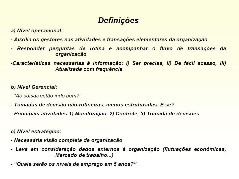 Definições a) Nível operacional:
