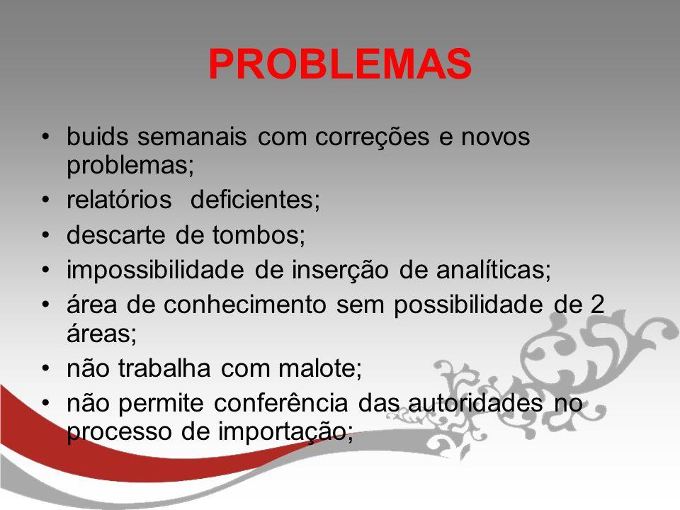 PROBLEMAS buids semanais com correções e novos problemas;