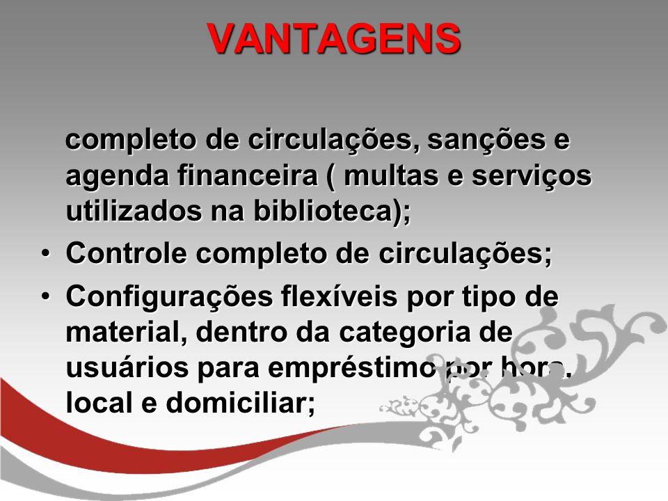 VANTAGENS completo de circulações, sanções e agenda financeira ( multas e serviços utilizados na biblioteca);