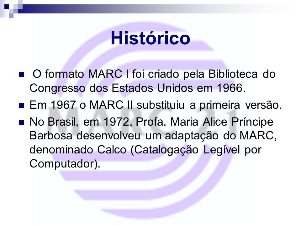 Histórico O formato MARC I foi criado pela Biblioteca do Congresso dos Estados Unidos em 1966. Em 1967 o MARC II substituiu a primeira versão.