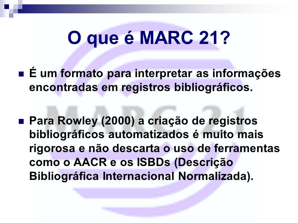 O que é MARC 21 É um formato para interpretar as informações encontradas em registros bibliográficos.