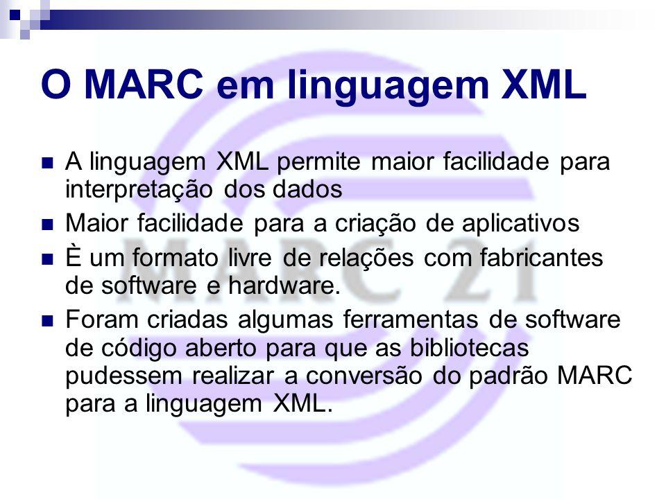 O MARC em linguagem XML A linguagem XML permite maior facilidade para interpretação dos dados. Maior facilidade para a criação de aplicativos.