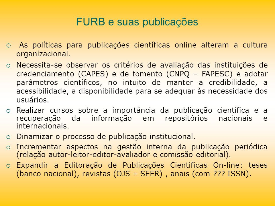 FURB e suas publicações