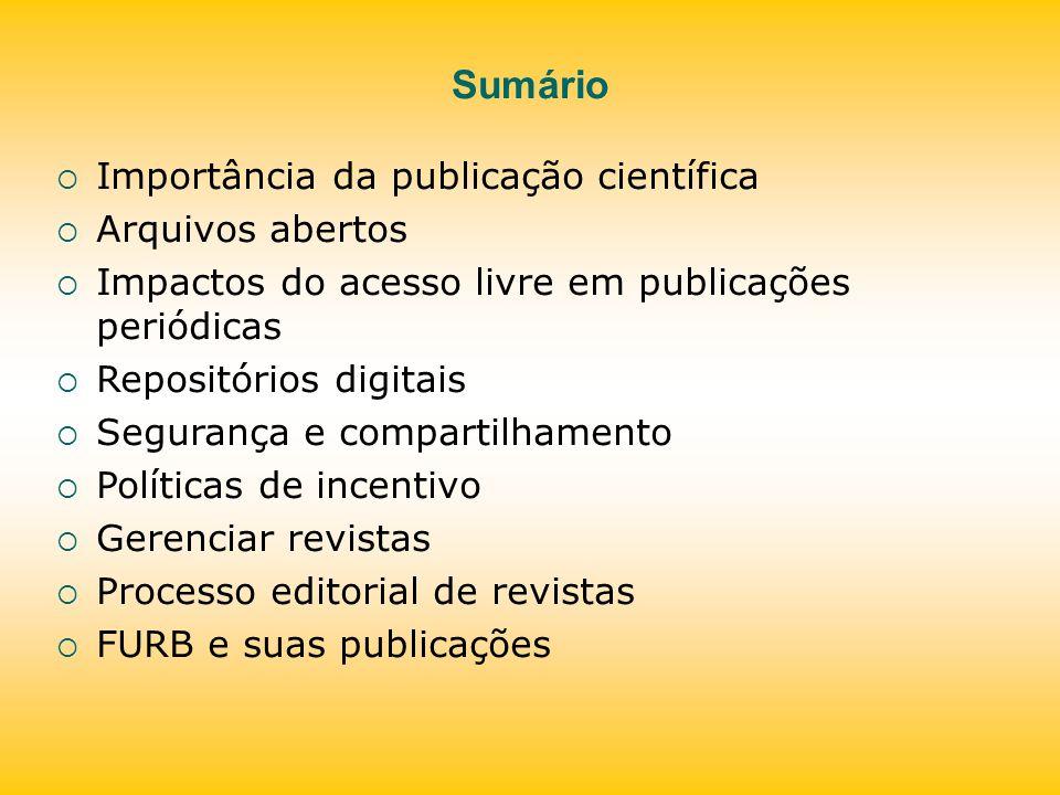 Sumário Importância da publicação científica Arquivos abertos
