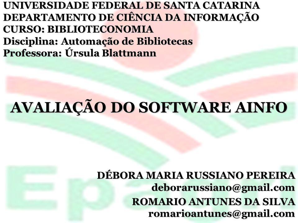 AVALIAÇÃO DO SOFTWARE AINFO