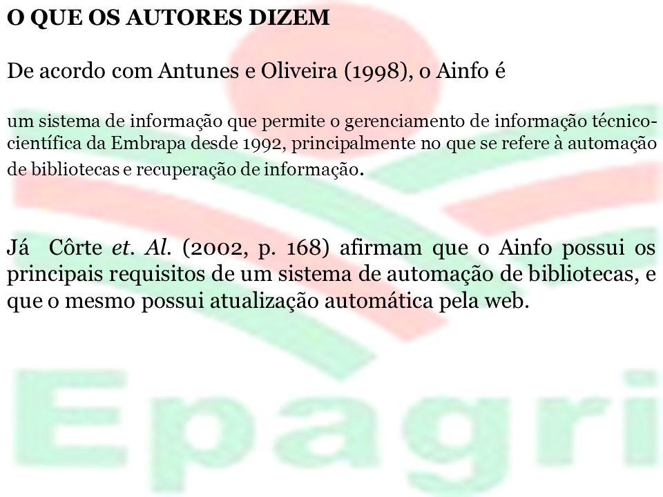 De acordo com Antunes e Oliveira (1998), o Ainfo é