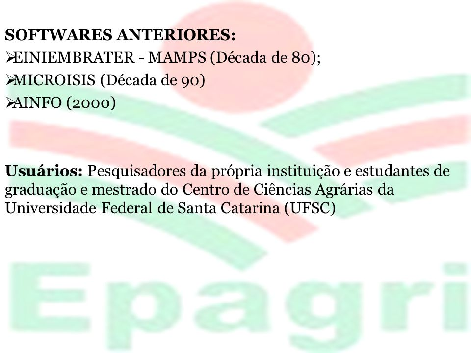 SOFTWARES ANTERIORES: