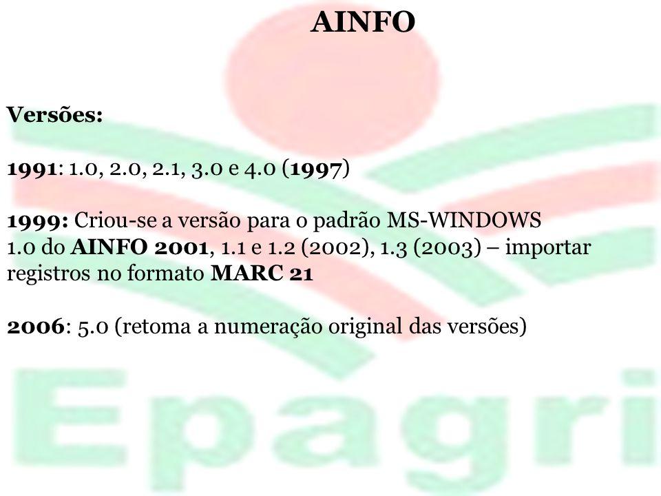 AINFO Versões: 1991: 1.0, 2.0, 2.1, 3.0 e 4.0 (1997) 1999: Criou-se a versão para o padrão MS-WINDOWS.