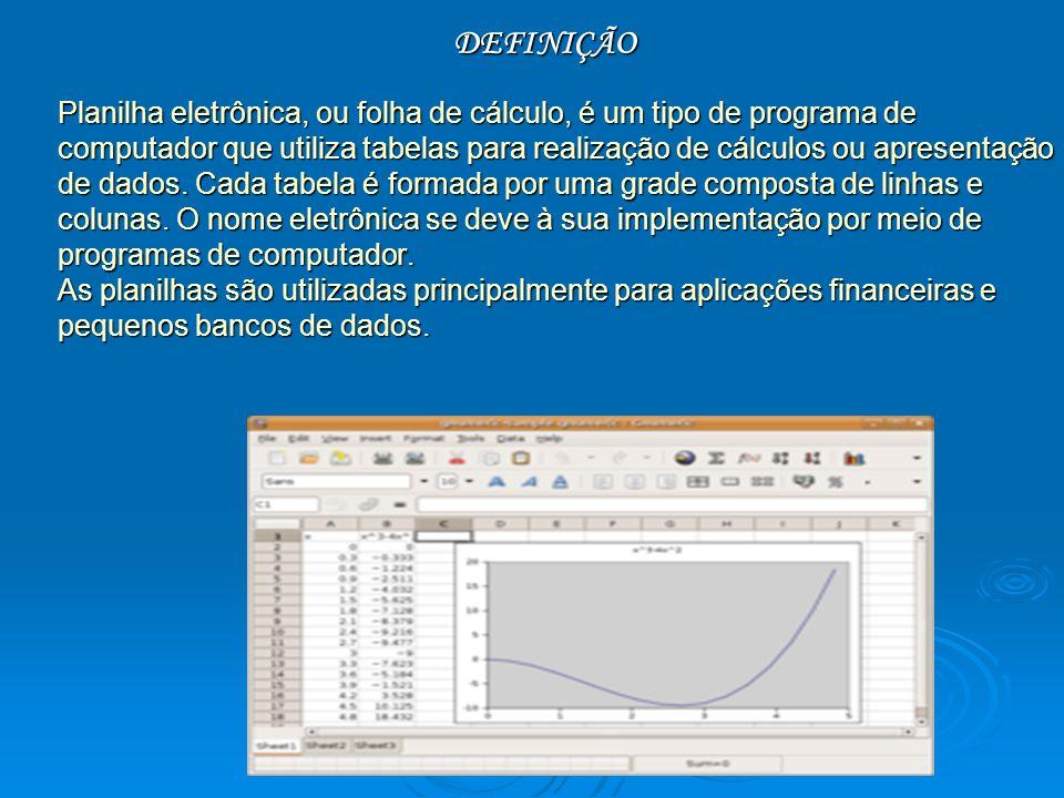 DEFINIÇÃO Planilha eletrônica, ou folha de cálculo, é um tipo de programa de computador que utiliza tabelas para realização de cálculos ou apresentação de dados.