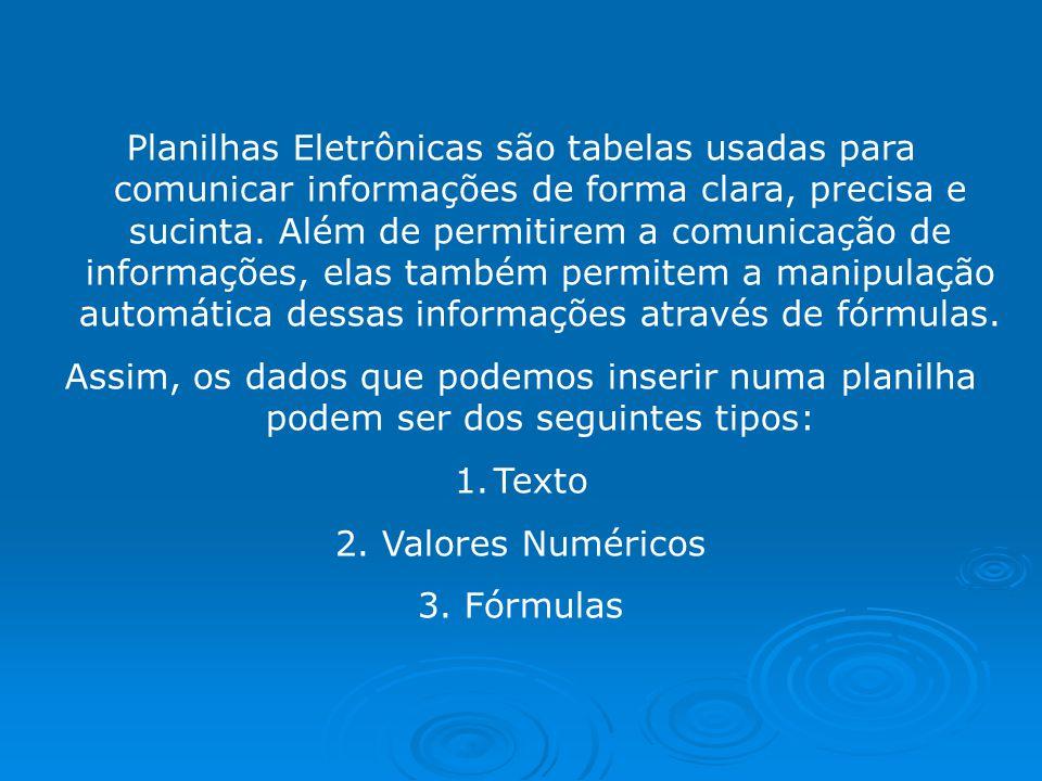 Planilhas Eletrônicas são tabelas usadas para comunicar informações de forma clara, precisa e sucinta. Além de permitirem a comunicação de informações, elas também permitem a manipulação automática dessas informações através de fórmulas.