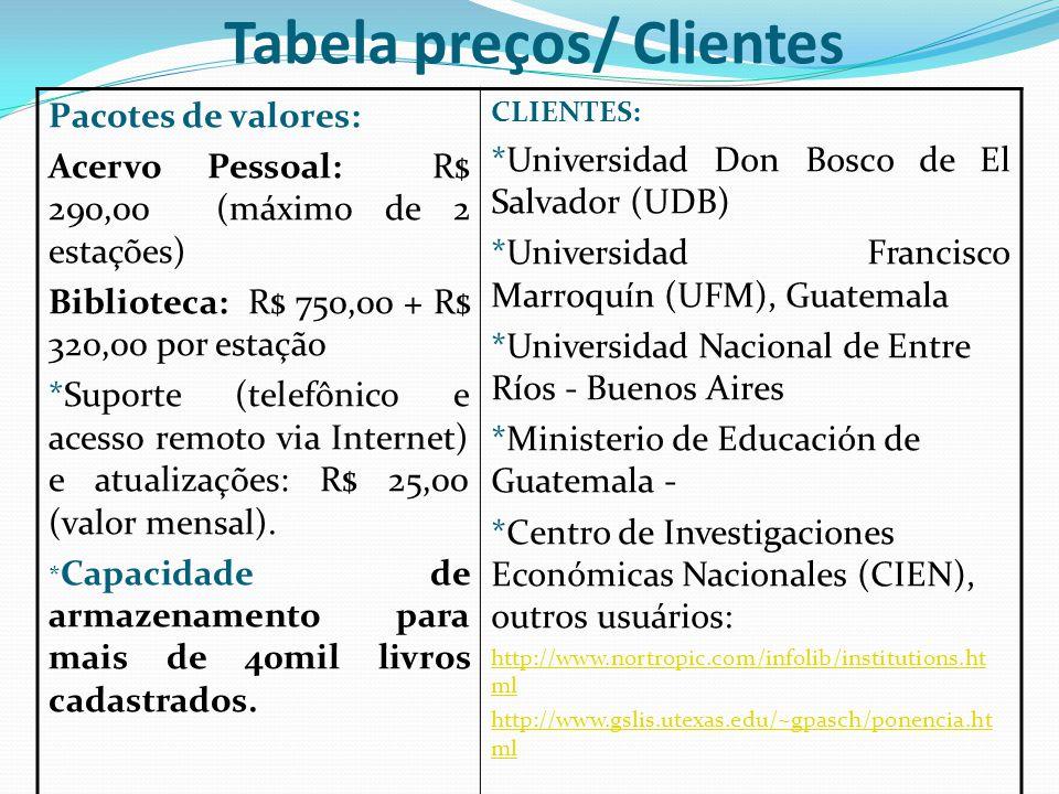 Tabela preços/ Clientes